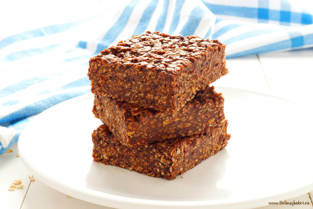 No-Bake Chocolate Peanut Butter Bars with Oatmeal