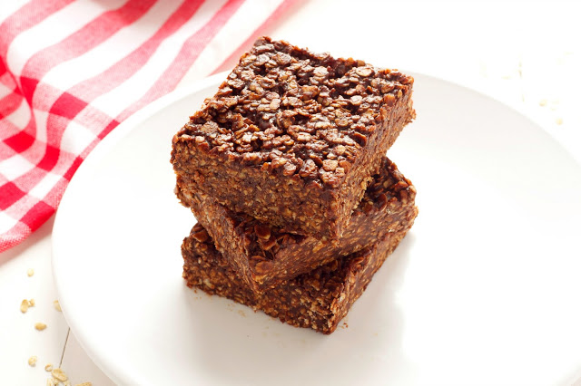 a plate with No-Bake Chocolate Peanut Butter Oat Bars