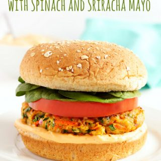 Turkey Burgers with Spinach and Sriracha Mayo