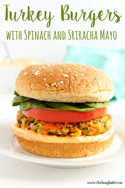 titled image (and shown): grilled turkey burgers with spinach and sriracha mayo