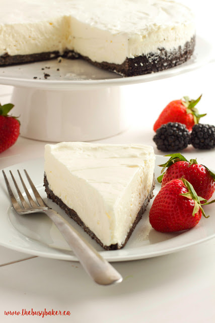 This Classic No Bake Cheesecake is so creamy and delicious and it's made with only 3 ingredients!! It's the perfect easy dessert that you don't have to bake! Serve it with fresh berries for an easy summer treat or add whatever toppings you like and enjoy it any time of the year! Recipe from thebusybaker.ca! #summerdessert #bestevernobakecheesecake