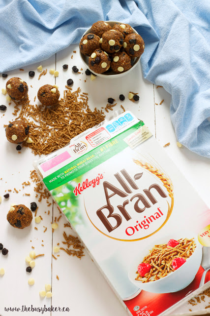 a box of Kellogg's All-Bran cereal and no-bake energy bites made with the cereal