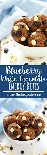 Blueberry White Chocolate Energy Bites www.thebusybaker.ca