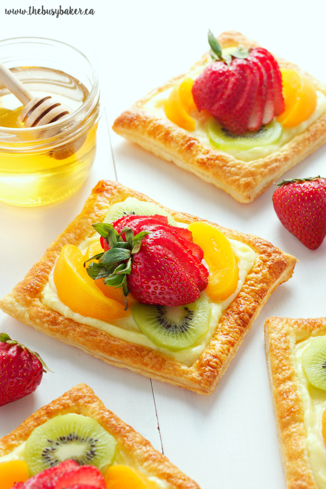 individual Honey Glazed Fruit Tarts with Vanilla Custard Filling