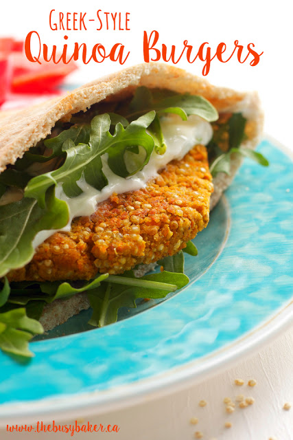 Greek-Style Quinoa Burgers - The Busy Baker