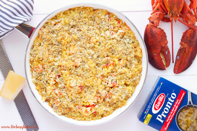 overhead image of seafood mac and cheese with fresh lobster