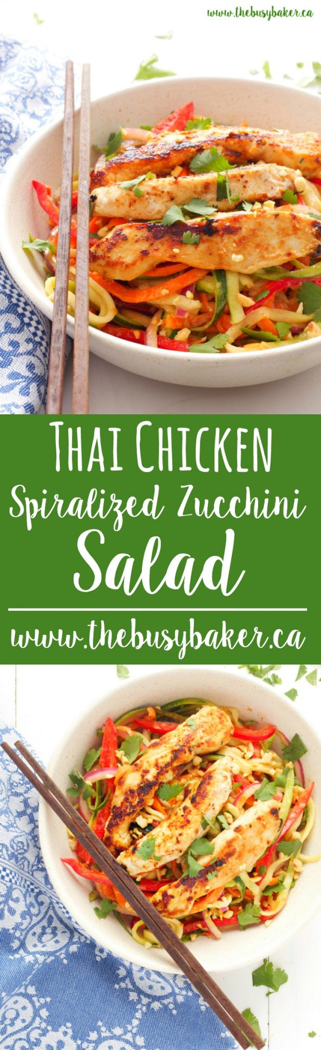 This Thai Chicken Spiralized Zucchini Salad is a healthy Asian-inspired meal featuring grilled chicken breast, spiralized veggies, and an easy peanut sauce! Recipe from www.thebusybaker.ca via @busybakerblog