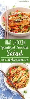 Thai Chicken Spiralized Zucchini Salad www.thebusybaker.ca