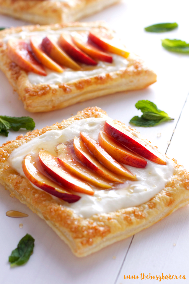 Fresh Nectarine Tarts with Lemon Mascarpone Filling www.thebusybaker.ca