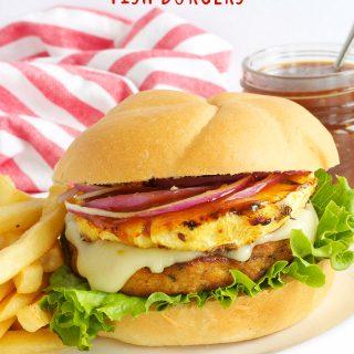 Hawaiian Teriyaki Fish Burgers