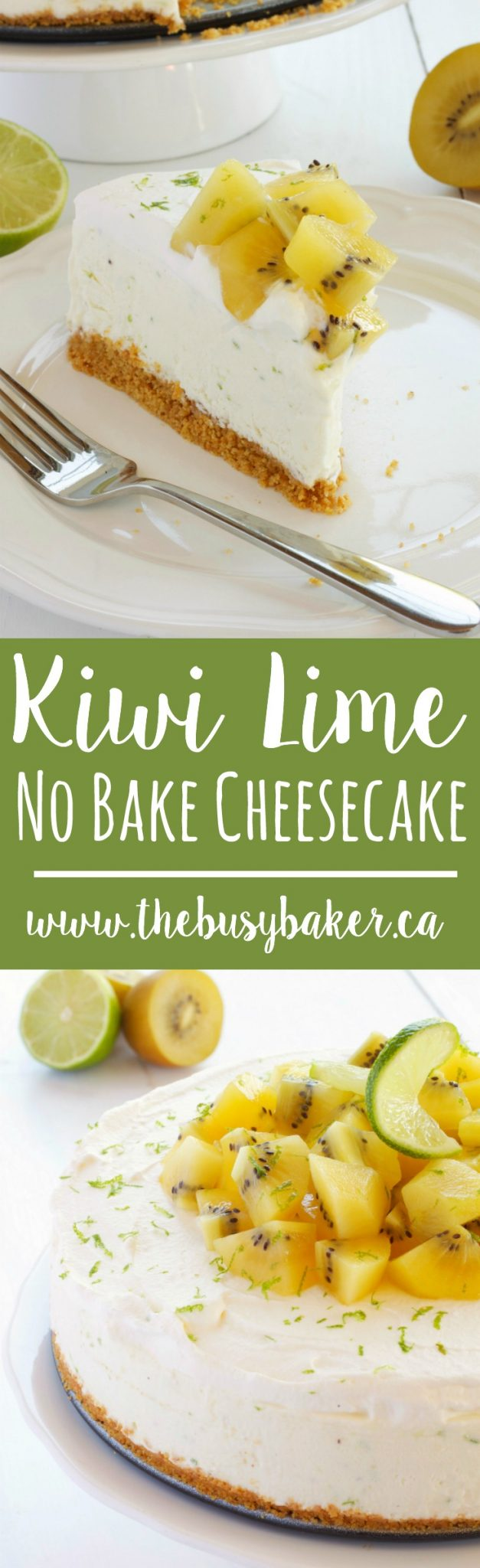 This Kiwi Lime No Bake Cheesecake is the perfect easy dessert for summer featuring fresh citrus flavours and delicious kiwifruit! Rich and creamy cheesecake filling paired with zesty lime and sweet, tart kiwifruit makes a simple summer sweet treat that's cool and refreshing, and great for entertaining! Recipe from thebusybaker.ca! #kiwicheesecake #kiwilime #summerdessert #summercheesecake #easynobakecheesecake via @busybakerblog