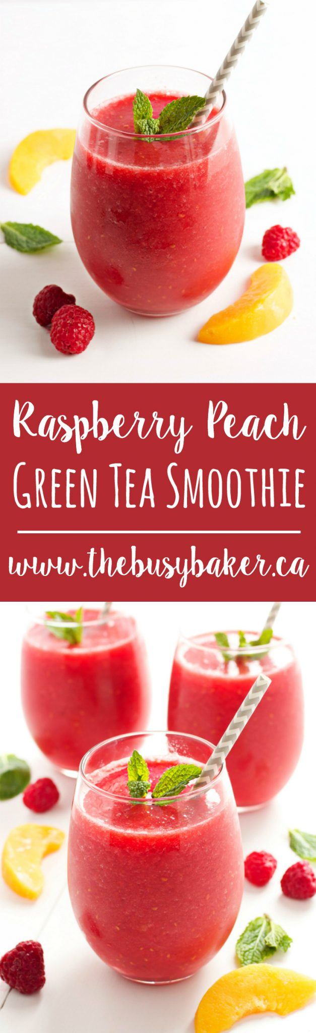 This Raspberry Peach Green Tea Smoothie a refreshing low-calorie treat that's naturally sweetened only with fruit, with a delicious hint of iced green tea! Recipe from thebusybaker.ca! via @busybakerblog