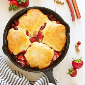 Strawberry Rhubarb Skillet Cobbler