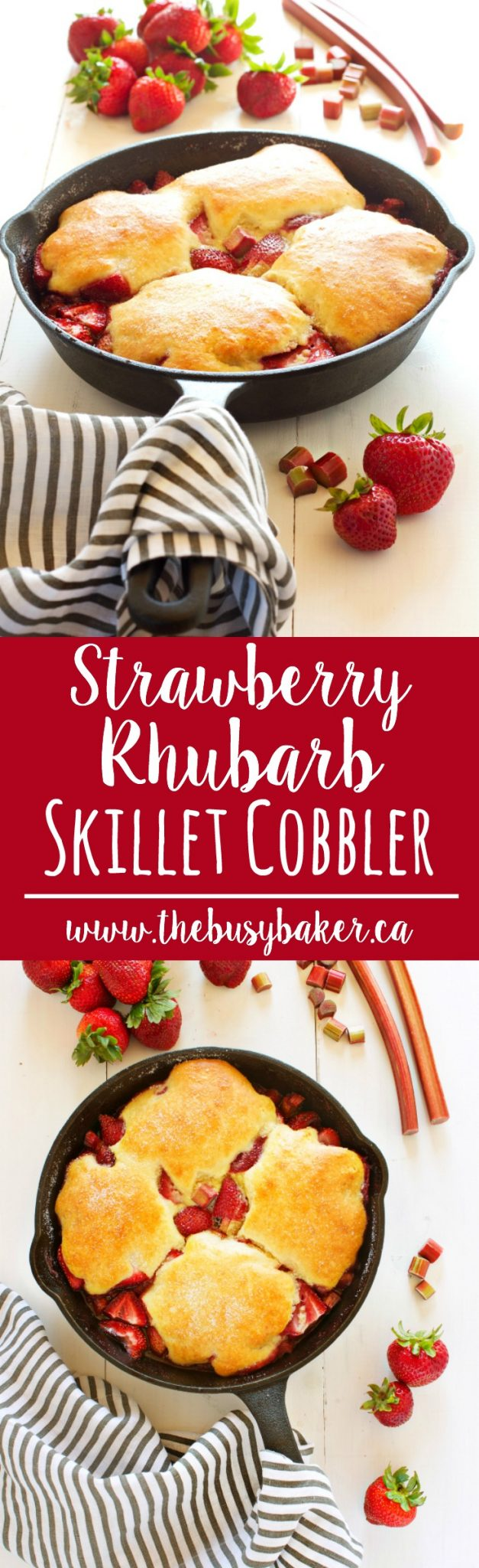 This Strawberry Rhubarb Skillet Cobbler is everybody's old-fashioned family favorite summer dessert recipe featuring fresh sweet strawberries and rhubarb! Recipe from thebusybaker.ca! via @busybakerblog
