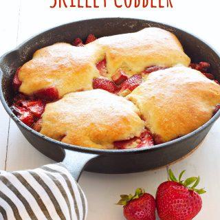 Strawberry Rhubarb Skillet Cobbler