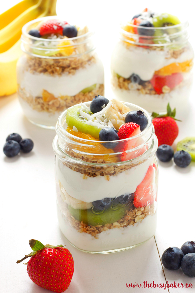 Tropical Fruit Breakfast Parfaits www.thebusybaker.ca