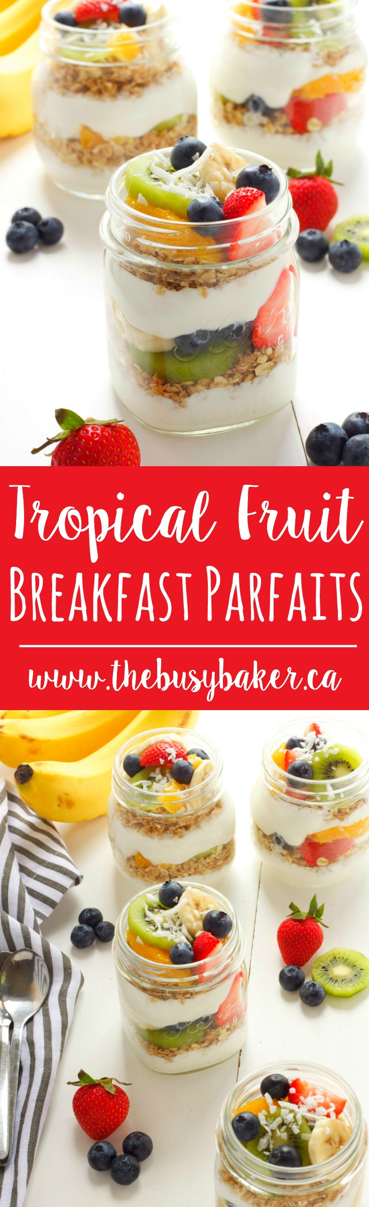These Tropical Fruit Breakfast Parfaits feature fresh fruit, healthy homemade granola, and delicious yogurt for the perfect easy breakfast or snack! Recipe from thebusybaker.ca! via @busybakerblog