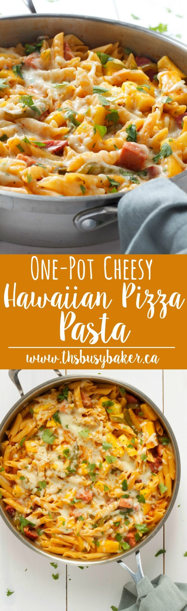 This Cheesy One Pot Hawaiian Pizza Pasta is the perfect easy weeknight meal with all the flavours of your favourite Hawaiian pizza! Recipe from thebusybaker.ca! via @busybakerblog