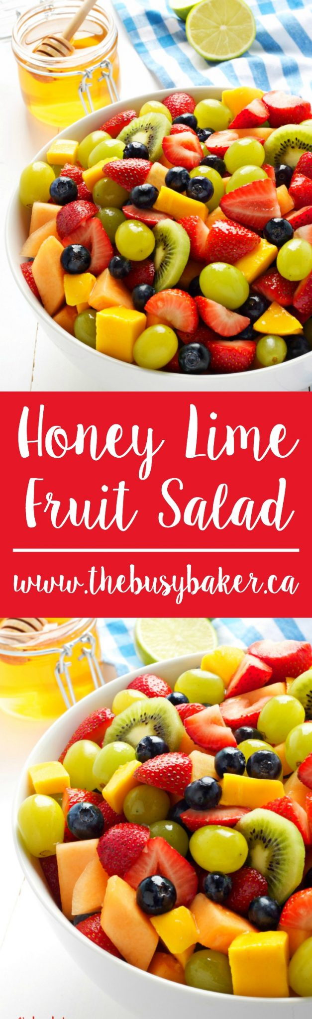 This Honey Lime Fruit Salad is so easy to make with fresh, seasonal fruit and a super simple dressing made with lime juice and honey. Recipe from thebusybaker.ca! via @busybakerblog