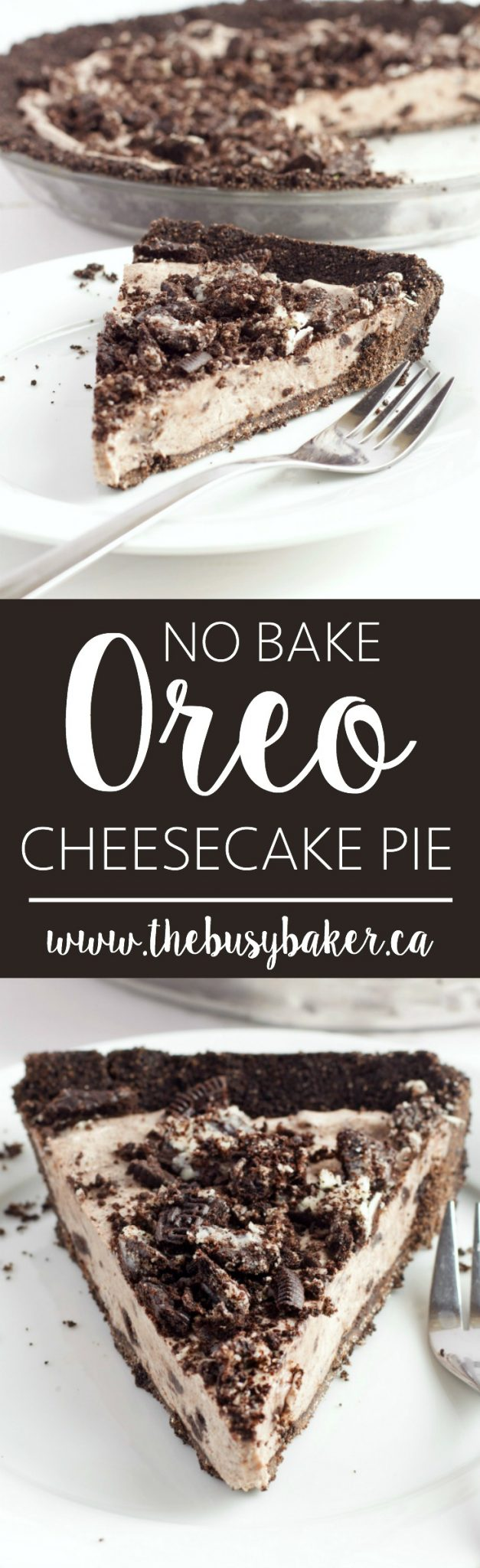 This No Bake Oreo Cheesecake Pie is a super easy to make cool and refreshing summer dessert! The filling is made from only 4 simple ingredients! Recipe from thebusybaker.ca! via @busybakerblog