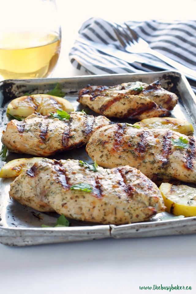 This White Wine and Herb Marinated Grilled Chicken is so juicy and flavourful with a simple marinade! Recipe from thebusybaker.ca!