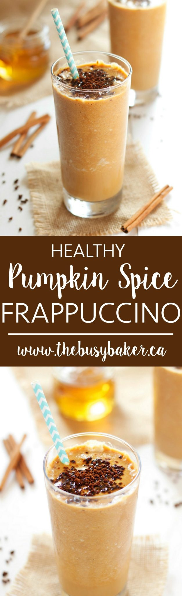 This Healthy Pumpkin Spice Frappuccino is everybody's favourite fall coffee drink recipe with a healthy twist, made from simple, wholesome ingredients! Recipe from thebusybaker.ca! via @busybakerblog