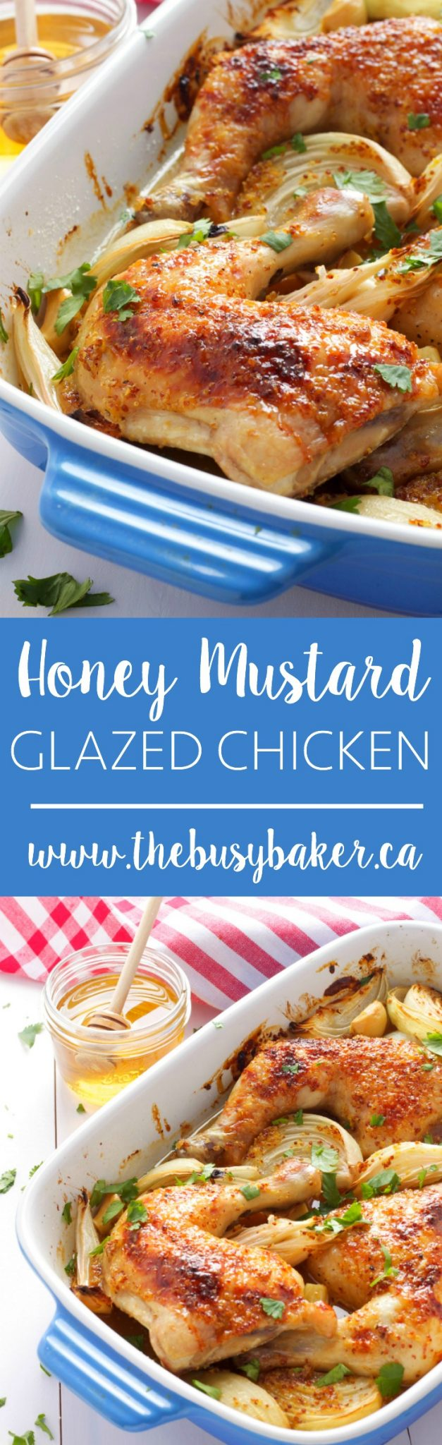 This Honey Mustard Glazed Chicken Recipe is an easy main-dish made with wholesome, healthy ingredients so it's perfect for the whole family! Recipe from thebusybaker.ca! via @busybakerblog