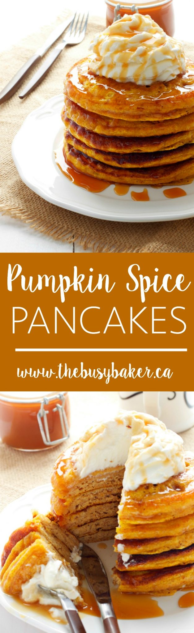 These Pumpkin Spice Pancakes are a delicious fall breakfast! Made with fresh buttermilk, pumpkin and topped with caramel and whipped cream! Recipe from thebusybaker.ca! via @busybakerblog