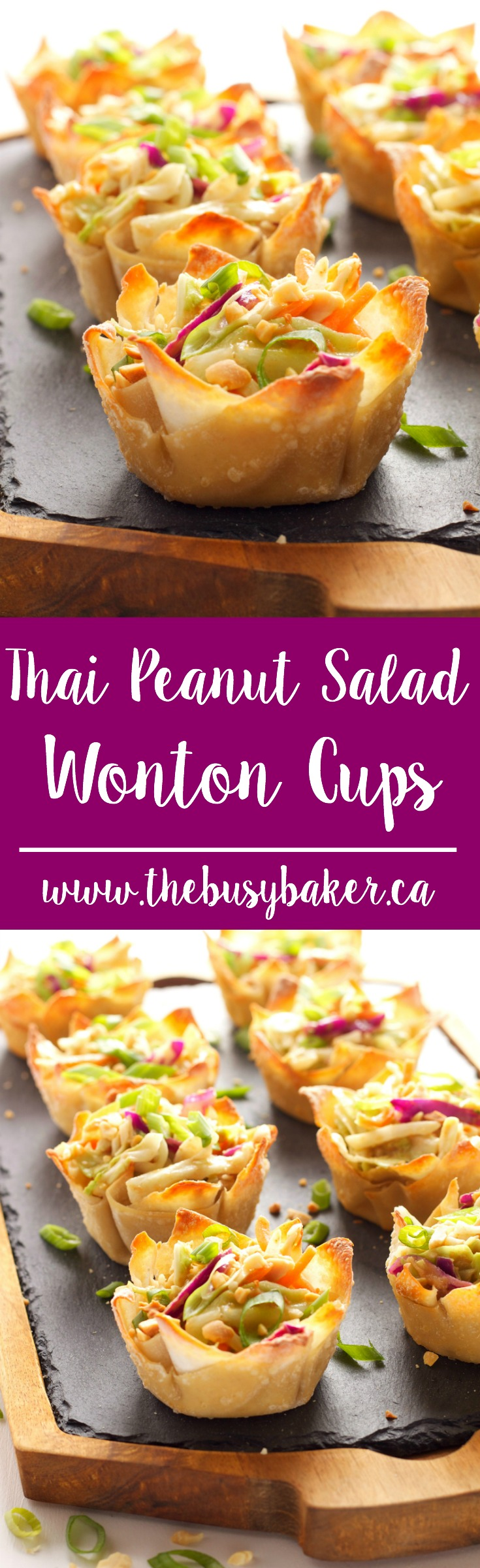 These Thai Peanut Salad Wonton Cups feature a delicious Thai-inspired peanut dressing over shredded veggies, topped with crushed peanuts! via @busybakerblog