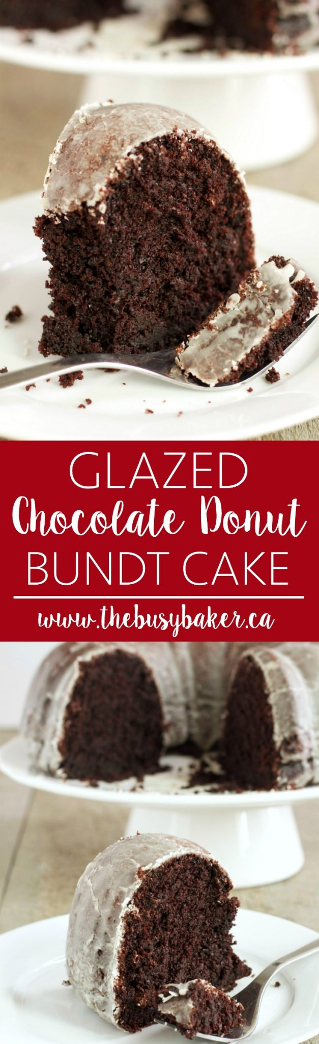 This Glazed Chocolate Donut Bundt Cake is everyone's favourite coffee shop donut in cake form with a delicious, sweet glaze! Recipe from thebusybaker.ca! via @busybakerblog