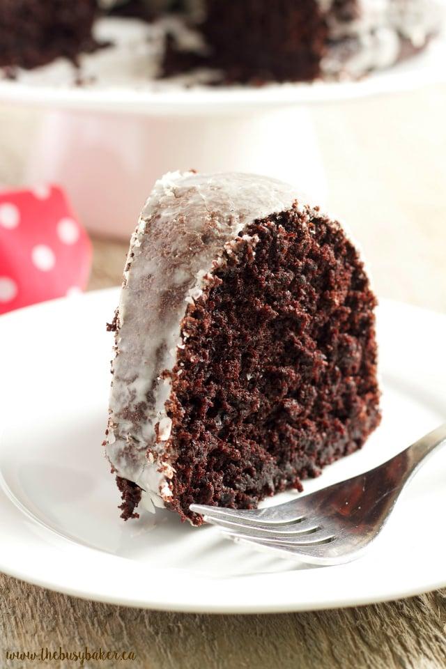 Glazed Chocolate Donut Bundt Cake www.thebusybaker.ca