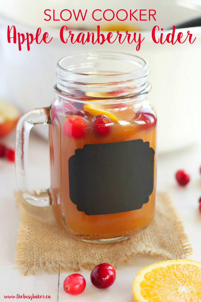 Slow Cooker Apple Cranberry Cider www.thebusybaker.ca