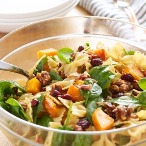 Butternut Squash Pasta Salad with Cranberries, Pancetta and Candied Walnuts