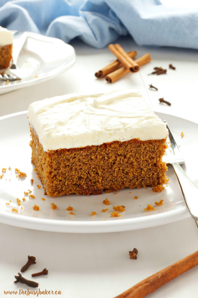 Gingerbread Spice Cake with Fluffy Cream Cheese Frosting. The perfect holiday dessert! www.thebusybaker.ca