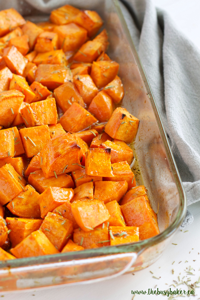 Maple Rosemary Roasted Sweet Potatoes - The Busy Baker