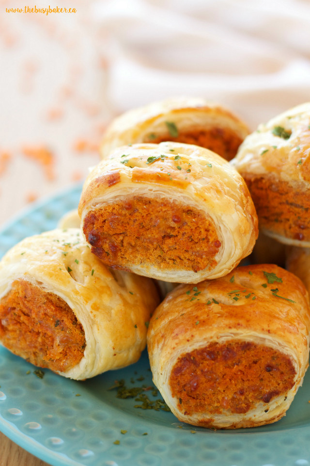 Vegetarian red lentil sausage rolls the busy baker vegetarian red lentil sausage rolls make the perfect vegetarian appetizer thebusybaker forumfinder Image collections