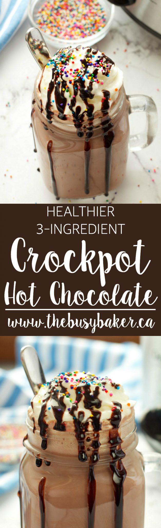 This 3 Ingredient Healthier Crock Pot Hot Chocolate is a healthy homemade choice for a warm winter drink, and it's SO easy to make! Recipe from thebusybaker.ca! via @busybakerblog