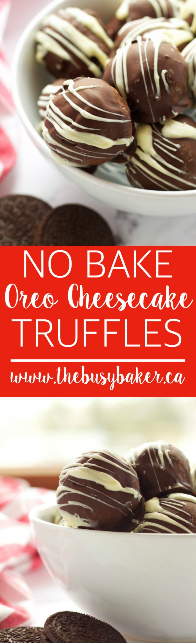 These No Bake Oreo Cheesecake Truffles are so easy to make with only 5 ingredients! They're the perfect no-bake sweet treat! Recipe from thebusybaker.ca via @busybakerblog