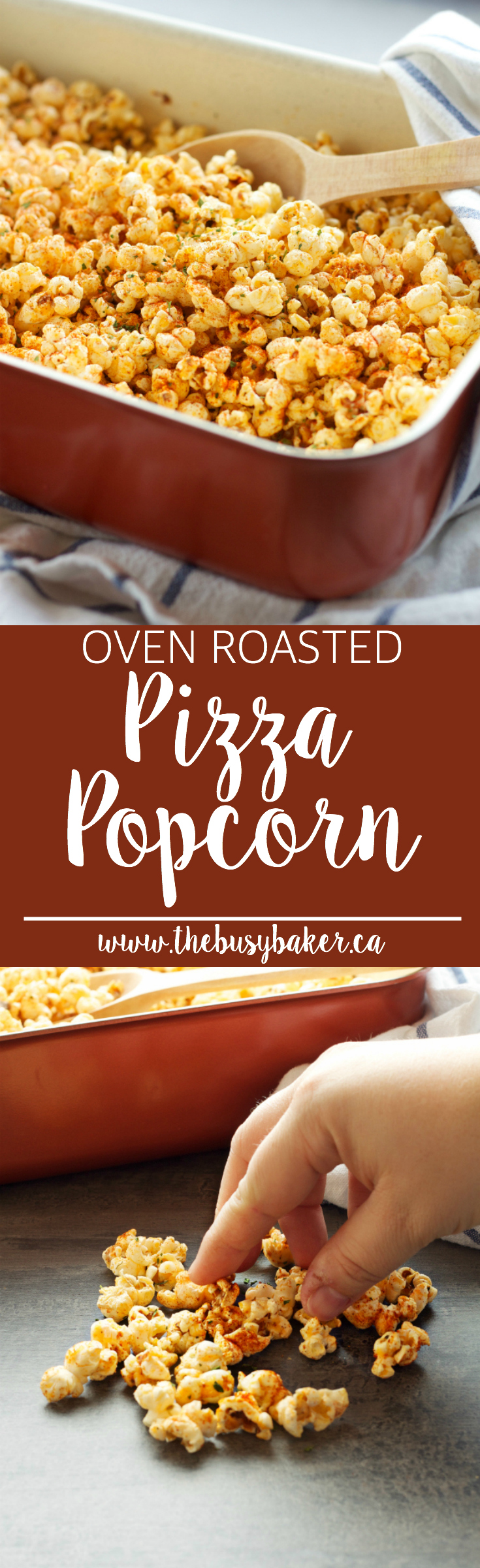 This Oven Roasted Pizza Popcorn is flavoured with Italian spices and sharp cheese, and makes a great snack or edible gift! via @busybakerblog