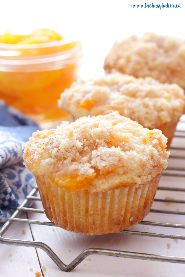 Peach Cobbler Muffins on cooling rack
