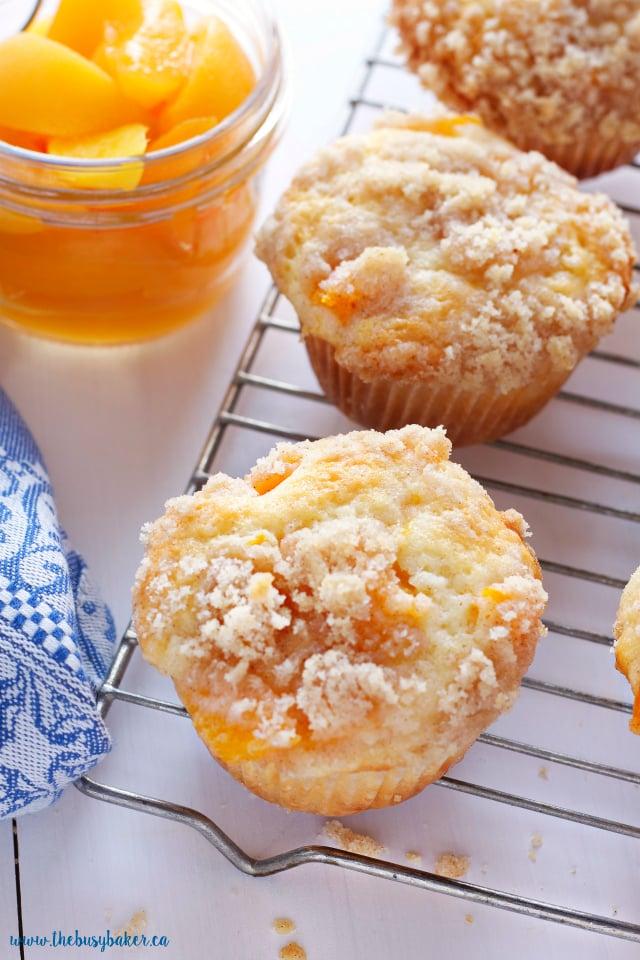 Peach Cobbler Muffins with Peaches in a jar