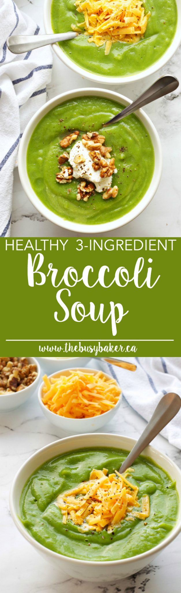 This Healthy 3 Ingredient Broccoli Soup is the perfect easy healthy recipe! Just 3 simple ingredients and a blender is all you need! Recipe from thebusybaker.ca! via @busybakerblog