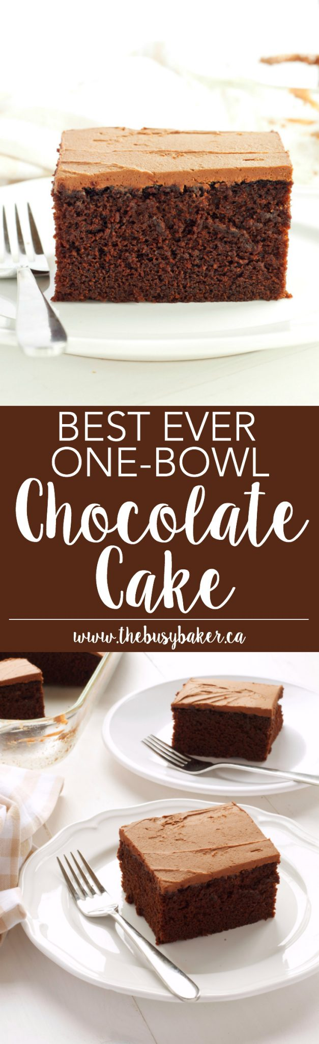 This Best Ever One Bowl Chocolate Cake is the 'holy grail' of chocolate cakes! Recipe from thebusybaker.ca! via @busybakerblog