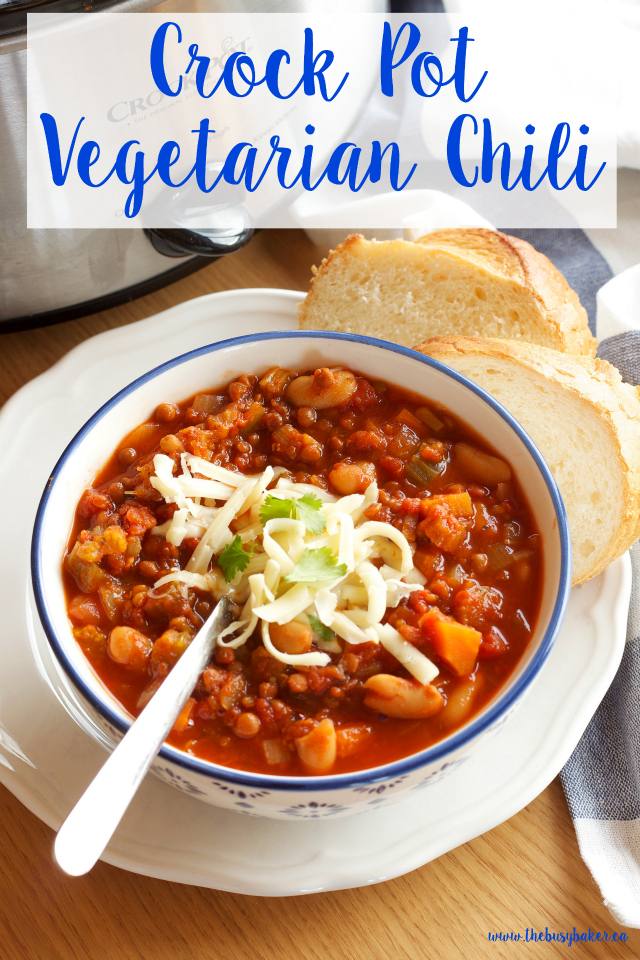 Crock pot vegetarian chili slow cooker the busy baker for Healthy vegetarian crock pot recipes easy