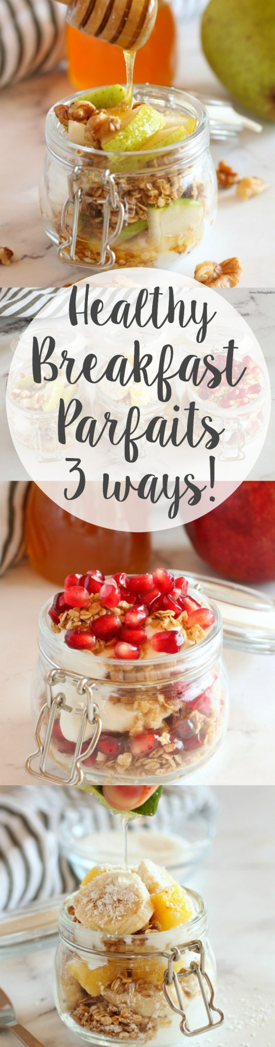 These Breakfast Fruit and Granola Parfaits (Basic Homemade Granola Recipe) are the perfect healthy, wholesome breakfast every day of the week! Recipes from www.thebusybaker.ca via @busybakerblog