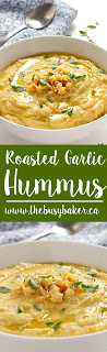 This Roasted Garlic Hummus is a healthy and delicious snack that's easy to make! Recipe from www.thebusybaker.ca