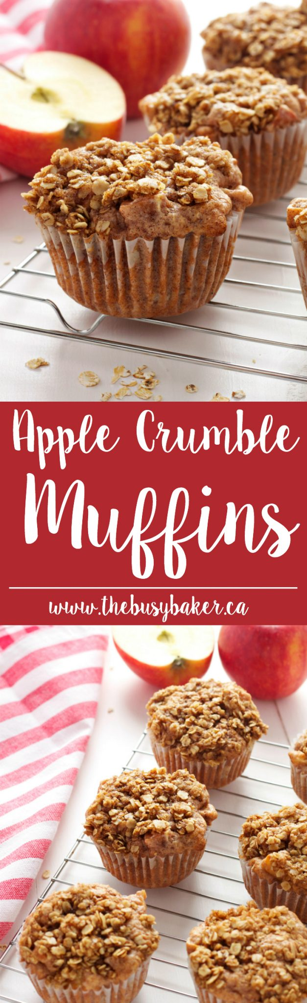 These Apple Crumble Muffins are delicious dessert-inspired muffins made with fresh apples and a delicious crumble topping! Recipe from thebusybaker.ca! via @busybakerblog