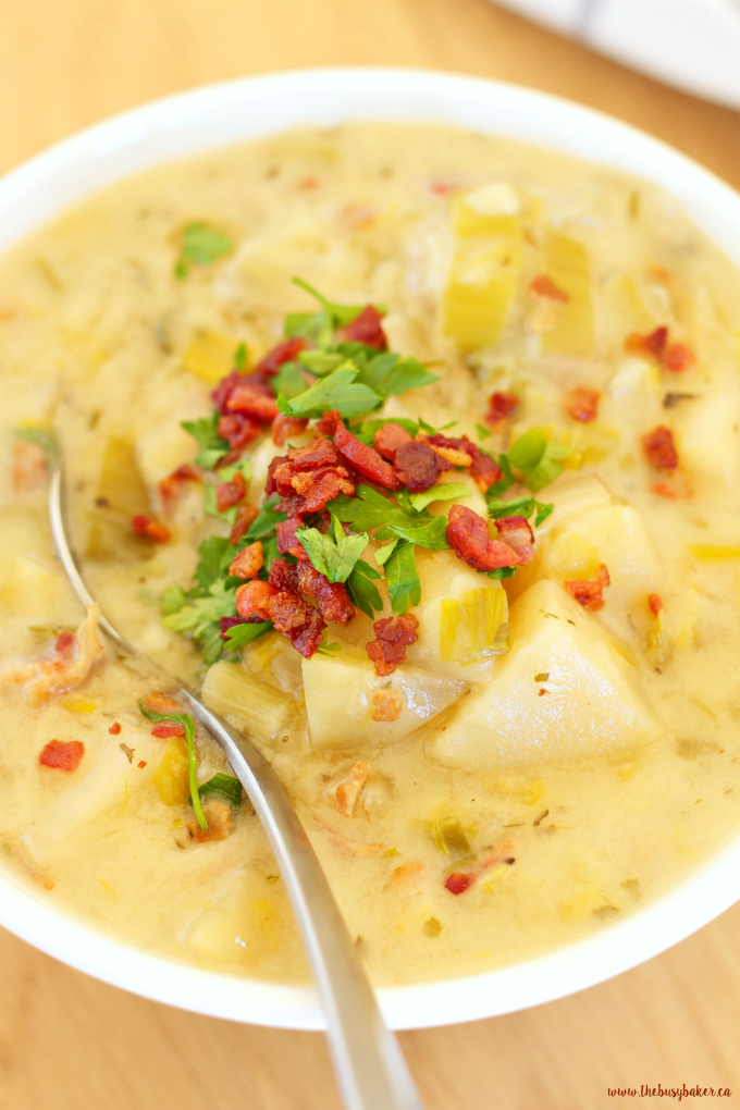 This Crock Pot Potato Bacon Leek Soup is delicious home-style comfort food with a healthy twist! Recipe from thebusybaker.ca
