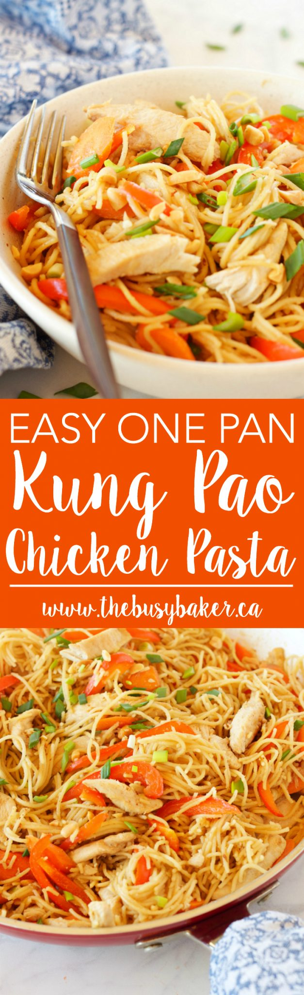 This Easy One Pan Kung Pao Chicken Pasta is a super easy Asian-inspired weeknight meal recipe that the whole family will love! And it's made with basic pantry staples and simple ingredients! thebusybaker.ca via @busybakerblog