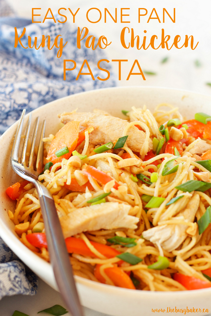 This Easy One Pan Kung Pao Chicken Pasta is a super easy Asian-inspired weeknight meal recipe that the whole family will love! And it's made with basic pantry staples and simple ingredients! Recipe from thebusybaker.ca!